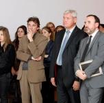 Pirma iš kairės - parodos kuratorė Julija Čistiakova, antras iš kairės- prancūzų kuratorius Nicolas Bourriaud, trečias iš kairės - Klaipėdos miesto meras Vytautas Grubliauskas, ketvirtas iš kairės- LR Kultūros ministras Arūnas Gelūnas