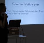 """Paskaitos """"Komunikacijos socialiniuose tinkluose planavimas ir turinio kūrimo būdai"""" akimirka."""